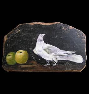 Torta Sottosopra - Ancient Wall Painting in Pompeii of  a dove and 2 green apples