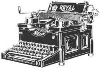 On Book Promotion - black & white drawing of a typewriter.