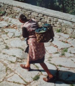 A woman walking with a basket of food on her back